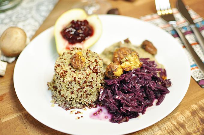 quinoa mit rotkraut champignon sauce und kandierten maroni kathie 39 s cloud. Black Bedroom Furniture Sets. Home Design Ideas
